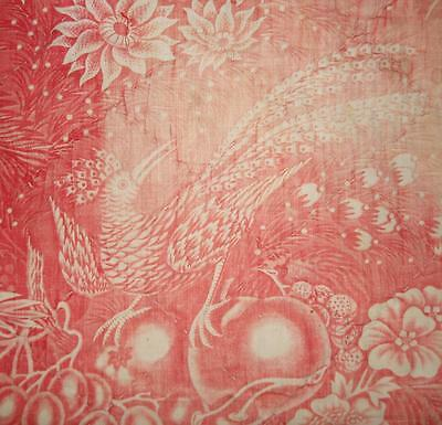 BEAUTIFUL FADED 19th CENTURY QUILTED FRENCH TOILE DE JOUY c1835, PEACOCK