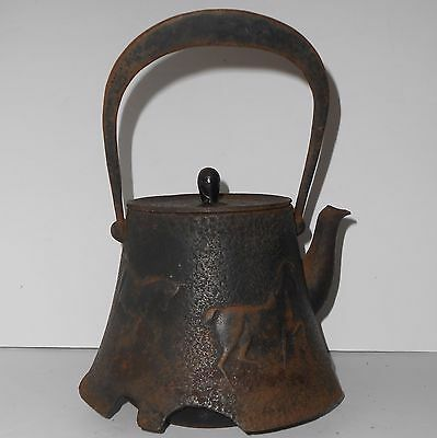 Antique Japanese Tetsubin kettle horses Meiji era signed Kitajima *damaged