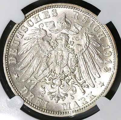 1913-D NGC MS 61 BAVARIA Silver 3 mark German State Coin (17011703C)