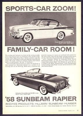 "1958 Sunbeam Coupe de Sport & Rapier Convertible photo ""Room & Zoom"" print ad"