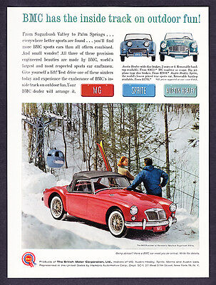"""1961 MG Roadster on Ski Slope photo """"Inside Track on Outdoor Fun"""" promo print ad"""