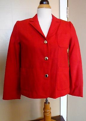 GIRL'S VTG 1970s RED SCHOOL GIRL WOOL BLAZER JACKET GOLD BUTTONS SIZE 12 NOS