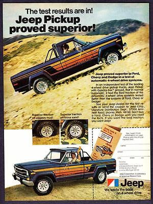 "1979 Jeep Honcho Pickup Truck photo ""Results Proved Superior"" vintage print ad"