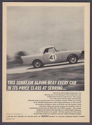 "1962 Sunbeam Alpine Convertible photo ""Won It's Price Class at Sebring"" print ad"