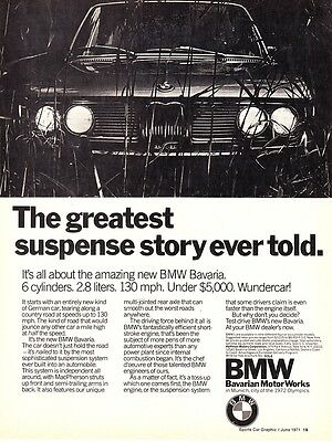 "1971 BMW Bavaria Sedan photo ""Greatest Suspense Story"" vintage print ad"