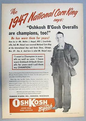 Orig 1948 OshKosh Bgosh Ad Photo Endorsed Walter Harpel Crawfordsville Indiana