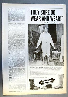 Original 1948 Hood Boots Ad Photo Endorsed by Charles Cracraft of Jackson MO