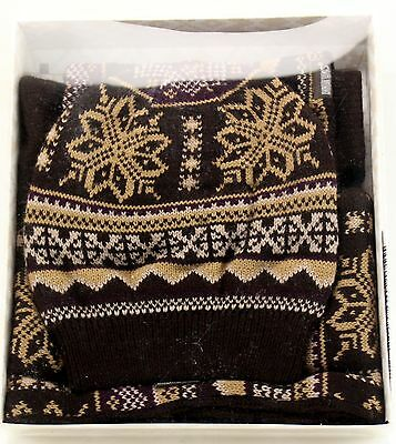 New Women's MUK LUKS Brown 100% Acrylic Reversible Beanie Scarf And Gloves Set