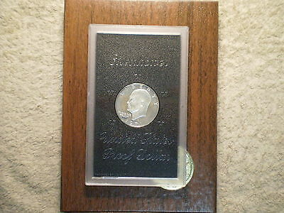 1971 S Proof Silver Ike Dollar In Original Gravy Brown Box