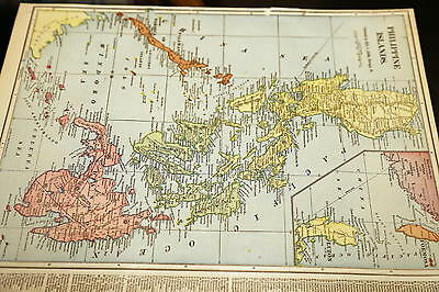 (8)1892-1911 Mcnally-Cram Beautiful Antique Atlas Maps-Philippines-Excellent