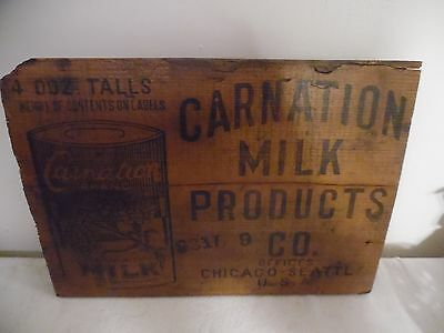 Vintage Wood Box End For Carnation Milk Products