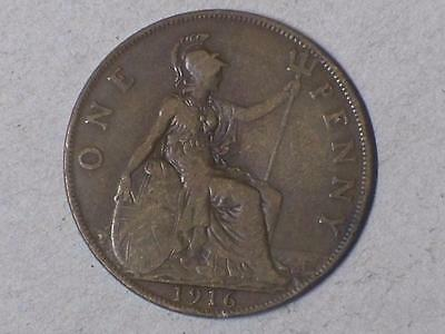 1916 ONE PENNY GREAT BRITIAN VERY GOOD NICE BROWN COIN #8586 glcw