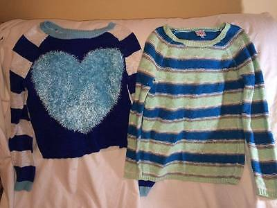 Lot Of Justice Girls Size 12 Heart / Striped Sweater - Great Lot