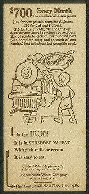 Nabisco Shredded Wheat Painted Alphabet Contest Card I is for Iron 1929