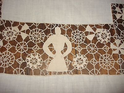 Antique Linen + Venise Point Lace w Figural People Banquet Tablecloth 11 Napkins