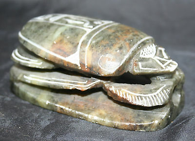 Egyptian Greenish Soapstone Scarab Hierogryphics to the base.
