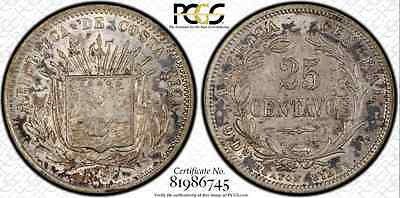 1890 H Costa Rica 25 Centavos...PCGS AU-58...Nicely Toned, Very Choice Example!!