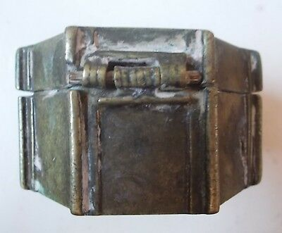 Antique Brass Octagonal Filippino Betel Nut / Lime Box, Southern Mindano