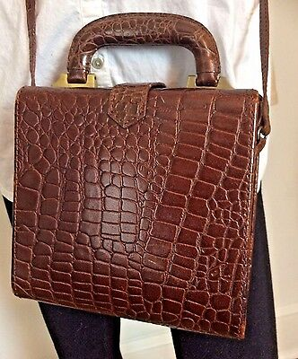 Vintage Brown Croco Embossed Leather Box Cross Body Shoulder Purse Bag