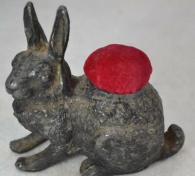 pin cushion figural bunny rabbit metal Victorian antique original 1800