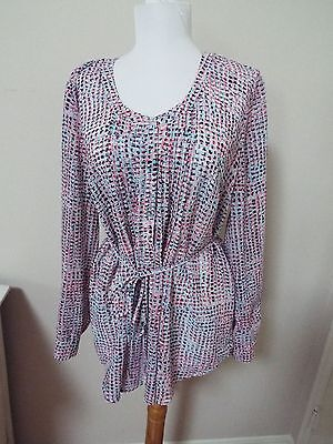 Motherhood Maternity Sz. M blue and pink Blouse with belt
