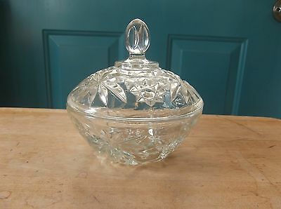 Anchor Hocking Clear Glass Early American Prescut Candy Dish with Lid