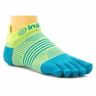 Injinji Performance 2.0 No-Show Coolmax Womens Toesocks XS/SM, Neon Green/Blue