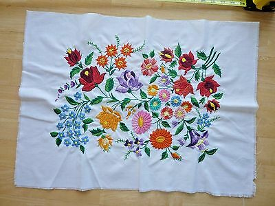 "Gorgeous Vintage Embroidered Multi-Colored Floral Dollie 17"" X 24"" Unfinished E."
