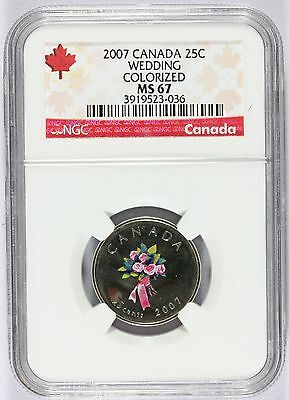 2007 Canada Wedding 25 Cents Colorized Quarter Coin - NGC MS 67
