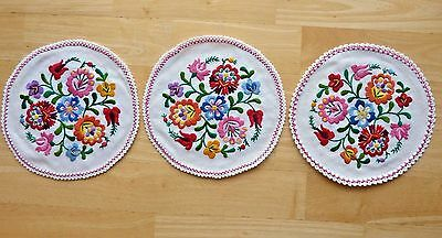 "Three Vintage Embroidered Multi-Colored Floral Round Dollies - 8"" New Unused"