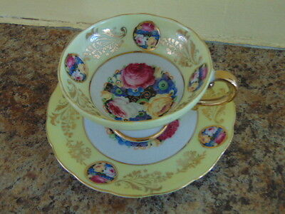 Vintage ROYAL SEALY China Teacup & Saucer Roses Gilt Medallions Yellow Beautiful