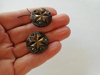 2 Antique Victorian Black Molded Glass Mourning Buttons