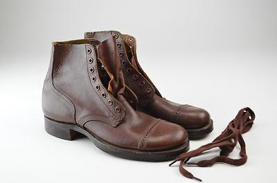 AUTHENTIC WWII TYPE II SERVICE SHOES! CAP TOP ANKLE BOOTS! USA No. 252 Sz 6A