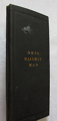 Folded Color Railway Map Ohio Columbus Cleveland Cincinnati Canvas Backed 1904