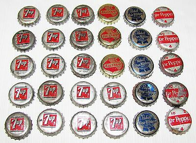 30--Vintage--Bottle Caps--Some Beer And Some Soda--A Few Cork Back