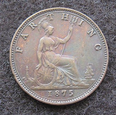 1875 Farthing Great Britain Bronze Coin