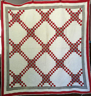 Beautiful Antique Red White & Gray Hand Sewn Double Irish Chain Quilt