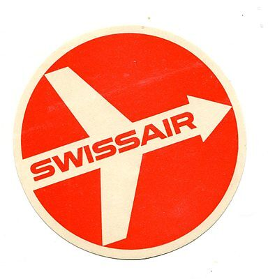 Vintage Airline Luggage  Label SWISSAIR red & white airplane logo