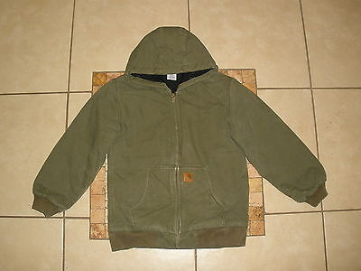 Boys CARHARTT QUILTED FLANNEL lined HOODED SANDSTONE DUCK Jacket Large 14-16