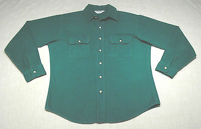 Vintage FIVE BROTHER Cotton Chamois Flannel Shirt (80s) Green CAMPING/HUNTING! M