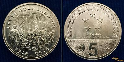 2014 Philippines 5 Peso Leyte Gulf Landing Brass Republica Ng Coin Unc