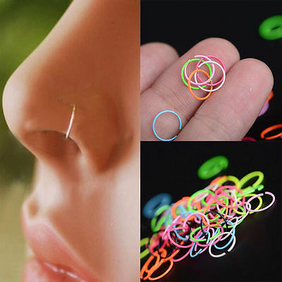 Lots 40PCS Surgical Steel Nose Ring Piercing Lip Hoop Ring Stud Piercing Unisex