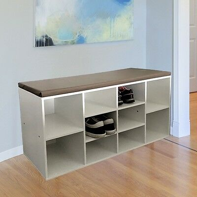Shoes Shelf rack Seat Bench imitation leather Room 10 Stackers white MDF Wood