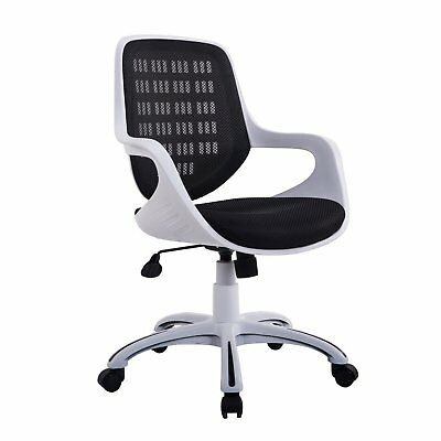 Adjustable Mid-Back Mesh Office Chair 360° Swivel Computer Chair Black/White