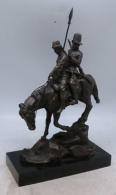 Russian Bronze Figural Group of Two Cossacks on Horseback - Signed AM WULFF