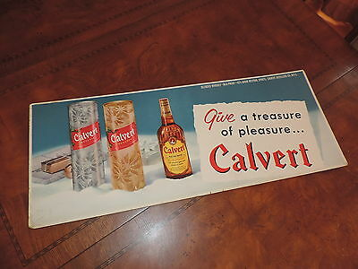 Vintage Calvert Whiskey Sign Cardboard Advertising For Side  Bus Trolley Subway