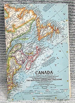 Old 1961 National Geographic Vintage Map Canada FREE S/H
