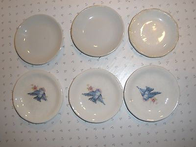 Old Butter Pats, Mixed  Group - 6 Pcs, includes 3 Blue Birds