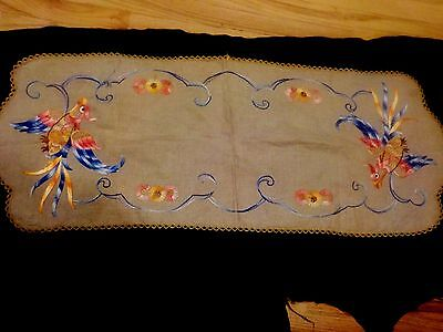 Antique 1920's Egyptian Phoenix/Bird of Paradise Table Runner-Excellent