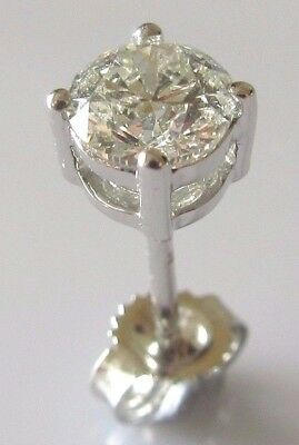 Single modern 18ct white gold solitaire diamond 0.50ct earring.